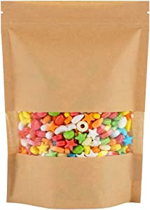 Vasdoo Kraft Stand Up Pouch Bags, Zip Lock Paper Bag with Window and Tear Notch,Heat sealable Food Storage Bag (50 pcs, 4.7x7.8 inch)