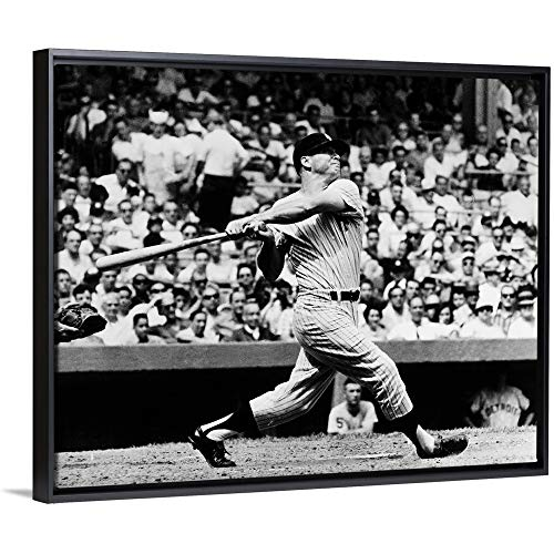 (Floating Frame Premium Canvas with Black Frame Wall Art Print Entitled Mickey Mantle of The New York Yankees, Hitting his 49th Home Run of The Season 30