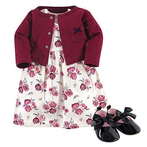 Hudson Baby Girl Baby Cardigan, Dress and Shoes, 3-Piece Set, Rose, 12-18 Months (18M)]()