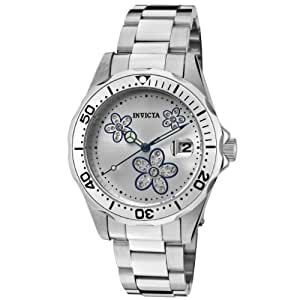 Invicta Women's 12834 Pro Diver Silver Dial Crystal Accented Flowers Watch