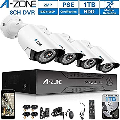 A-ZONE 1080P Security Camera System 8 Channel DVR 1080P AHD Home Surveillance System W/4x HD 1080P Waterproof Night vision Bullet Camera, Including 1TB HDD,Customizable Motion Detection by Tollar