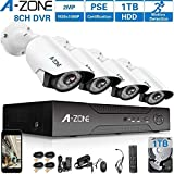 A-ZONE 1080P Security Camera System 8 Channel DVR 1080P AHD Home Surveillance System W/4x HD 1080P Waterproof Night vision Bullet Camera, Including 1TB HDD,Customizable Motion Detection