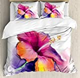 Watercolor Flower Home Decor Duvet Cover Set by Ambesonne, Hibiscus Flower in Pastel Abstract Romantic Petal Pattern, 3 Piece Bedding Set with Pillow Shams, King Size, Orange Purple