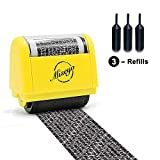 Miseyo Wide Identity Theft Protection Roller Stamp - Yellow (3 Refill Ink Included)