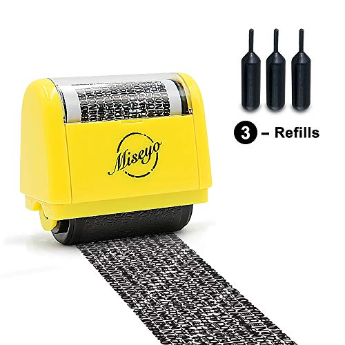 - Miseyo Wide Identity Theft Protection Roller Stamp - Yellow (3 Refill Ink Included)
