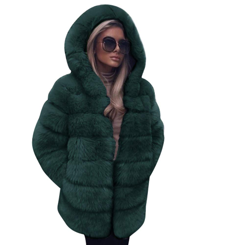 AIEason Women Fashion Luxury Faux Fur Coat Hooded Autumn Winter Warm Overcoat