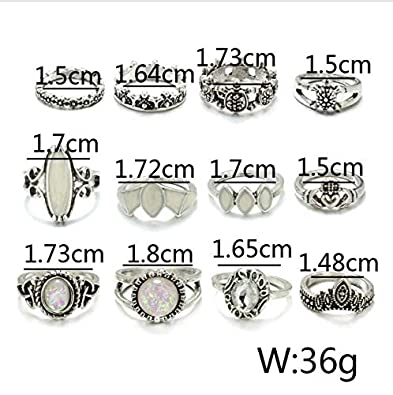 Bohemia Antique Gold Silver Elephant Flower Rose Heart Crown Carved Rings Set Knuckle Finger Midi Ring for Girls Women Jewelry
