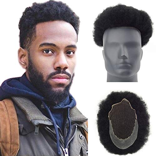 Lordhair Afro Toupee Hairpiece for men with 100% human hair 10x8 inch French Lace Base with PU Around Afro Wig Men Color 1 ()
