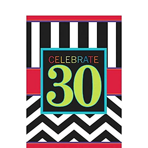 Must-Have Chevron and Stripes 30th Birthday Party Table Cover , Multi , 54