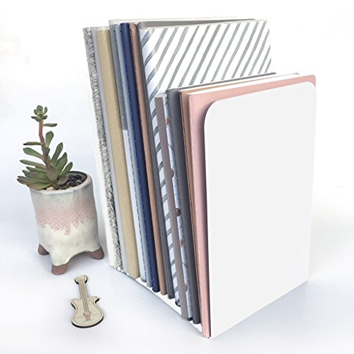 2 Pack Bookends Heavy Duty Books Stand Rack Nonskid Desk Bookshelf Bookcase Metal Book Holder Frame Book Support for Office School Library Magazine Files Binders Movies Dvds Video Games,Standard by Ylucky
