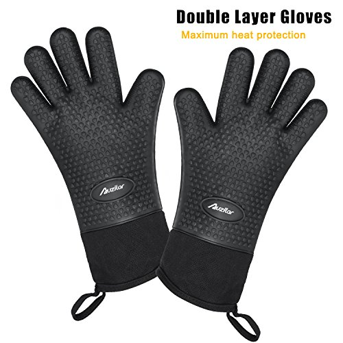 Auzilar Silicone Oven Mitts Extra-Long Heat Resistant Mitts Kitchen Gloves with Internal Cotton Lining for Cooking Pot Holder Grilling BBQ Baking Oven Fireplace Camping Kitchen and so on (Black) by Auzilar (Image #2)