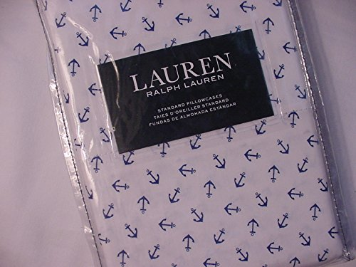 Ralph Lauren Navy Anchors on White Pillowcases Standard