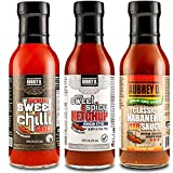 Aubrey D. Bold & Spicy Classic Habanero BBQ, XXXtra Hot Sweet Chilli,Sweet & Spicy Ketchup (Korean Style) Sauces 36 oz x 1