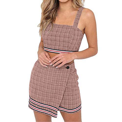 Dreamyth-sets 2Pcs Sexy Womens Striped Plaid Crop Top + Mini A-Line Skirt Suit Set Clubwear (Pink, S)
