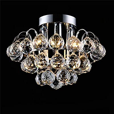 Bjour Modern Crystal Lighting Flush Mount Pendant Lamp Chandelier LED Ceiling Light Fixture for Dining Room Bedroom Living Room