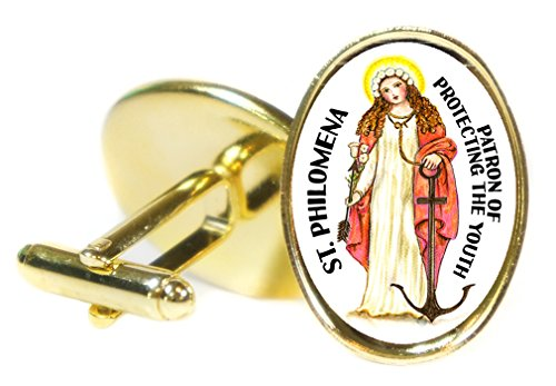 Artisan Courtyard St Philomena Patron Saint of Protecting the Youth 18x24mm (3/4'' X 1'') Oval Gold Pair of Cuff Links by Artisan Courtyard
