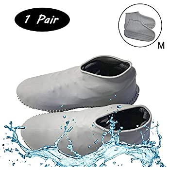 Waterproof Non Slip Rain Snow Overshoe Foldable Galoshes Rubber Shoe Protectors for Cycling Outdoor OWIKAR 1 Pair Reusable Silicone Boot and Shoes Covers Garden Medium, Transparent Fishing