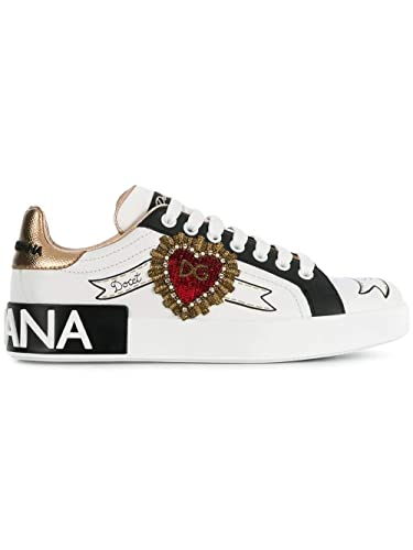 Amazon.com | Dolce e Gabbana Womens Ck1544az138hwt77 White Leather Sneakers | Fashion Sneakers