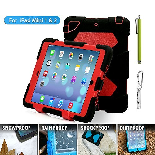 Ipad Mini Case Aceguarder [New Hot] Outdoor Silicone Products Ipad Case for Ipad Mini . Water Proof Shock Proof Rain Proof Dirt Proof Cover Case with Ipad Mini 3ipad Mini 2 Ipad Mini 1(black Red)