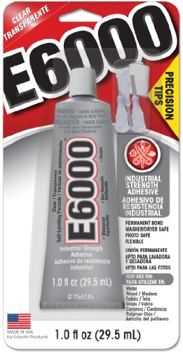 Fabric Adhesive Dries Clear (E6000 231020 Adhesive with Precision Tips, 1.0 fl oz)