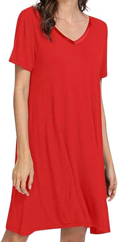 Rcool Camisones Batas y Kimonos Camisones Mujer Camisones Verano Camisones Tallas Grandes Mujer, Camisa de Dormir de Manga Corta camisón para Mujer Vestido Suave B: Amazon.es: Ropa y accesorios