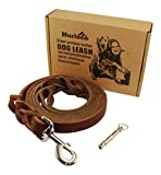 Military Grade Leather Dog Leash Set - 6 Ft x 7 8 In - Best Training Lead for Large and Medium K9. Gentle Enough for Small - Brown - Braided - Free Ultrasonic Keychain Dog Whistle