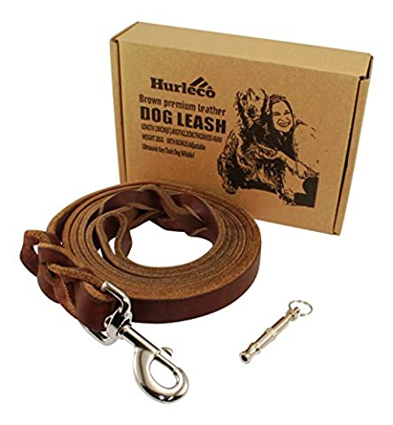Hurleco Military Grade Leather Dog Leash Set - 6 Ft x 7/8 In - Best Training Lead for Large and Medium K9. Gentle Enough for Small - Brown, Braided - Free Ultrasonic Keychain Dog Whistle
