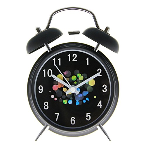 Twin Bell Alarm Clock,Drillpro 4Bedside Loud Alarm Clock-Old Fashioned 3D Digitals Quiet Non-ticking Sweep Second Hand-Quartz Analog Clock for Heavy Sleepers-Battery Operated (Not Included)