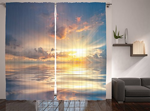 Ambesonne Ocean Decor Collection, Mystic View of Sunset Over Sea with Reflection in Water Majestic Clouds in the Sky Picture, Living Room Bedroom Curtain 2 Panels Set, 108 X 84 Inches, Blue White from Ambesonne