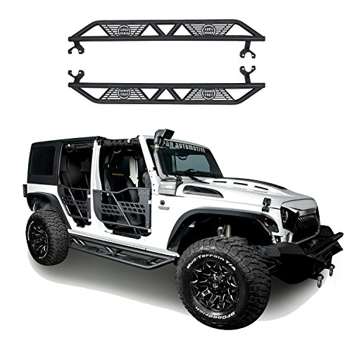 Hooke Road 2007-2018 JK Black Blade Side Steps Nerf Bars for Jeep Wrangler JK Unlimited 4-Door