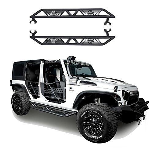 Hooke Road 2007-2018 JK Black Blade Side Steps Nerf Bars for Jeep Wrangler JK Unlimited 4-Door ()