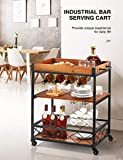 kealive Bar Cart for Home, Rolling Metal Wood Wine