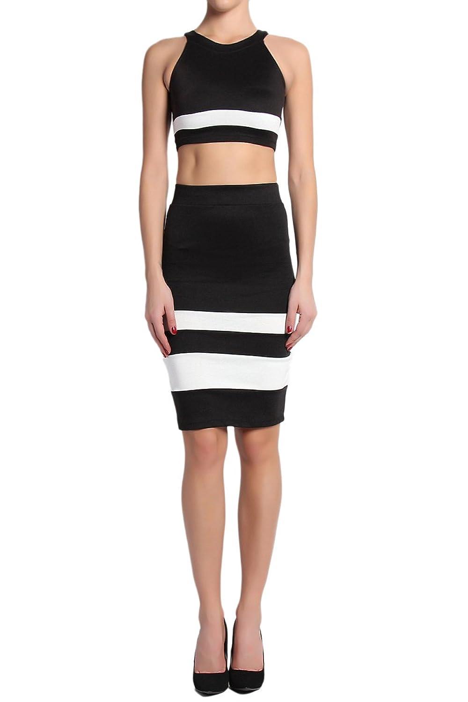 TheMogan Women's Monochrome Two Piece Bodycon Midi Dress