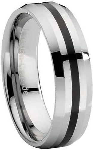 Mens Rings Fashion Rings Titanium 10mm Black Enamel Stripes Brushed Band Size 12.5