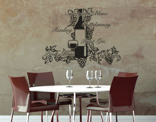 Wine Decor: Pinot, Chardonnay, Sauvignon, Riesling Wall Decal by Style & Apply - Wall Sticker, Vinyl Wall Art, Home Decor, Wall Mural - 2016 - Silver, 59in x 41in (Silver Chardonnay)