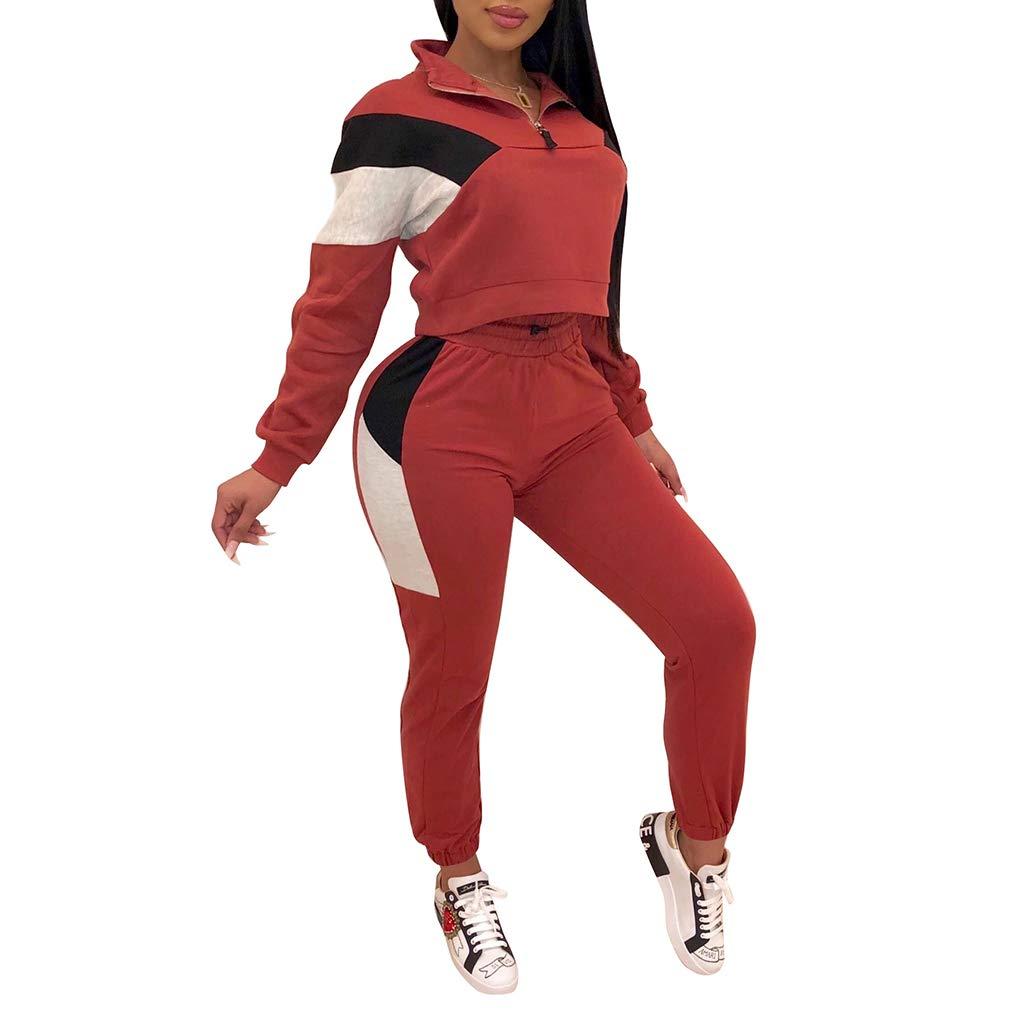 Kunfang Patchwork Sporting Ch/ándal con Capucha Mujer Jersey Manga Larga+Pantalones Casuales Winter Warm Thicken Conjunto de 2piezas