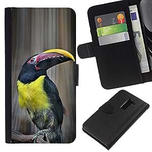 KingStore / Leather Etui en cuir / LG G2 D800 / Ornithologie jaunes espèces
