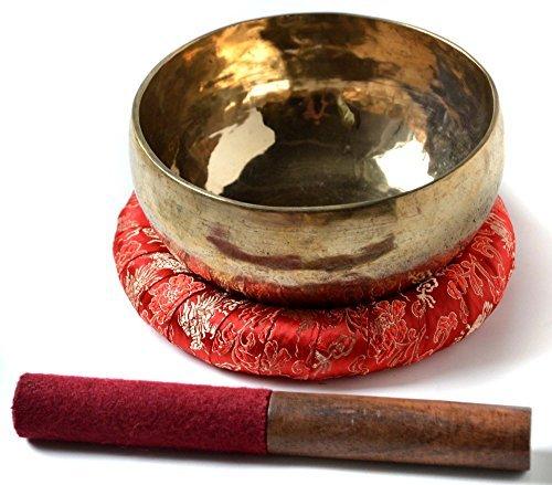 BUDDHAFIGUREN Singing Bowl Handgedengelt 550g-600g with Accessories Set