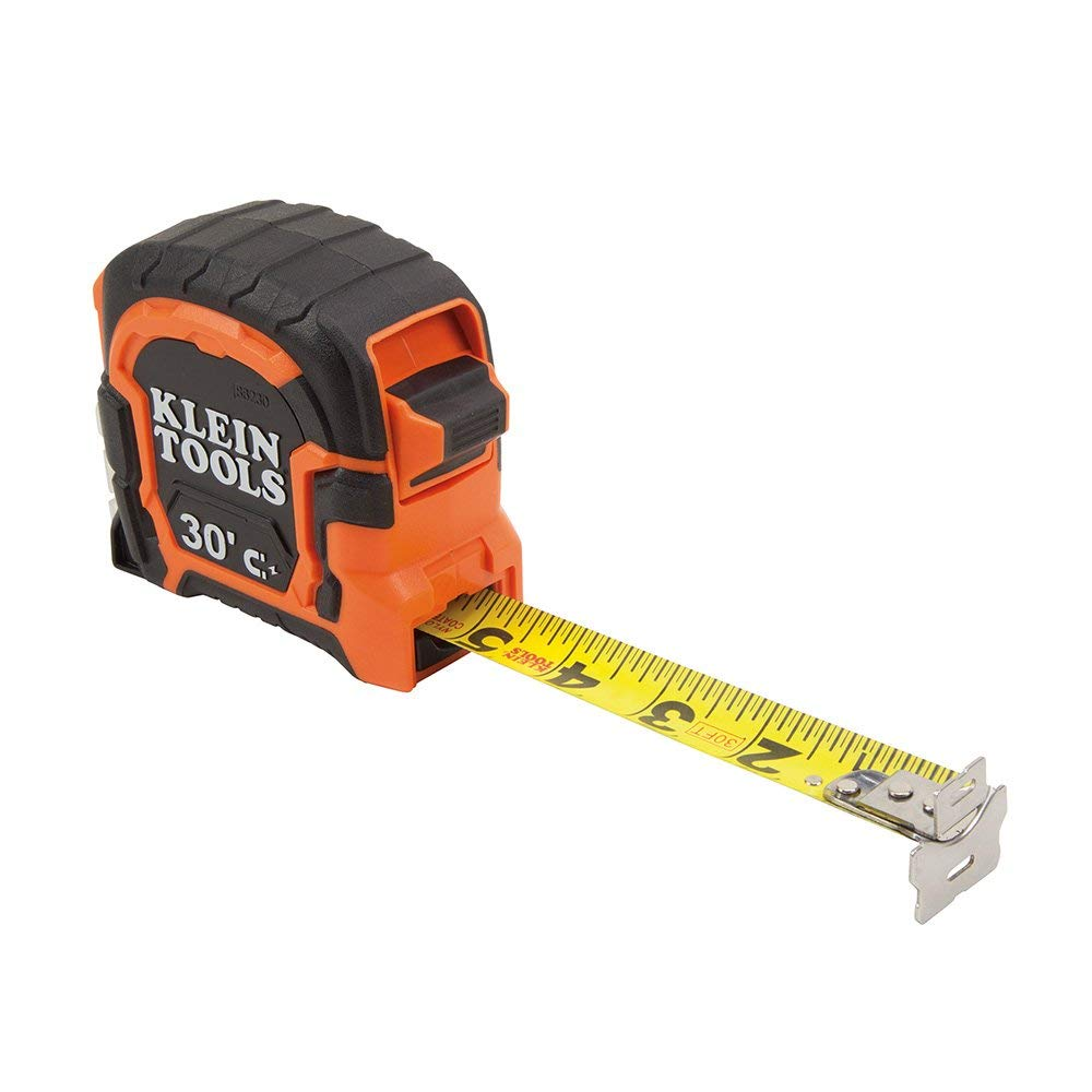 Tape Measure, 30-Foot Double Hook Magnetic with Finger Brake, Easy to Read Bold Lines Klein Tools 86230 (3-Pack)