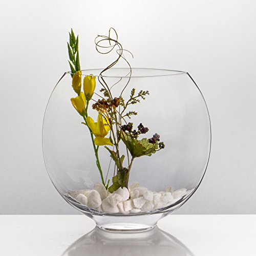 r Vase (Rounded Edge) Oval Vase, Moon Shape Glass Vase. (Moon Shape. H-10, (1 pc)) (Oval Centerpiece)