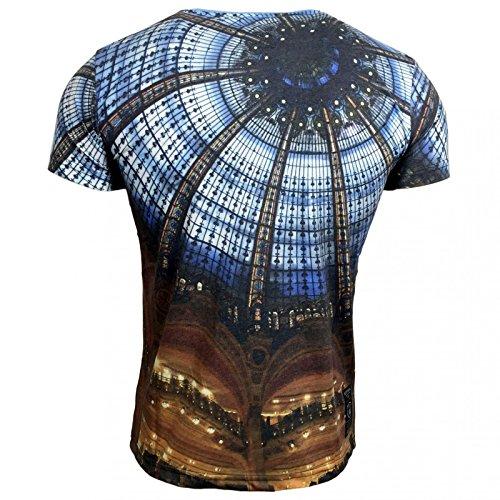 T-Shirt Herren Print Druck Motiv Kurzarm Rundhals A16828 Avroni, Größe:M, Farbe:Blau