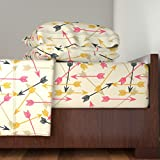Roostery Arrows 3pc Sheet Set Arrows Scattered//Cream Southwest Girly Trendy Tribal Print For Girls Decor by Andrea Lauren Twin Sheet Set made with