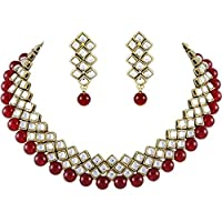 Karatcart Traditional Kundan and Beads Choker Necklace Set for Women