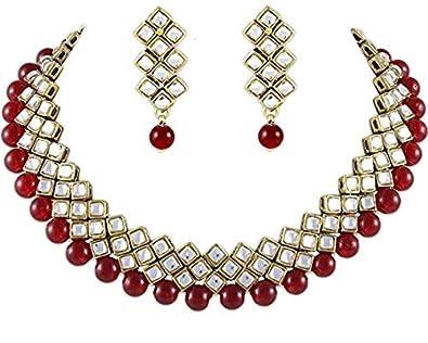 2b184bdb9 Karatcart Kundan And Red Beads Brass Choker Necklace & Earrings For Women