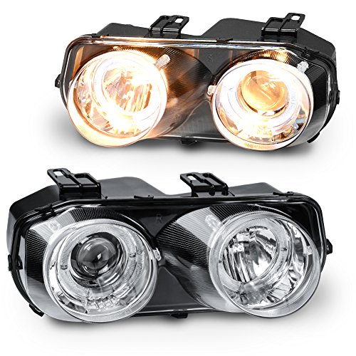 Acura Integra Headlight Assembly (AUTOSAVER88 94 95 96 97 Acura Integra Headlight Assembly,Replacement Halo Projector Headlamp,Black housing Clear Lens Warm White Light,One-Year Limited Warranty(Pair,33100-ST7-A02,33150-ST7-A02))