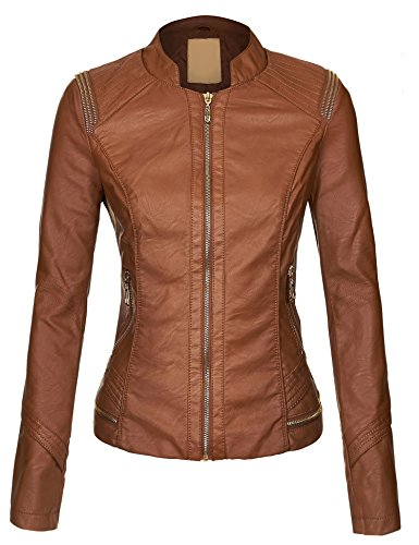 MBJ WJC610 Womens Posh Babe Faux Leather Jacket XS COGNAC