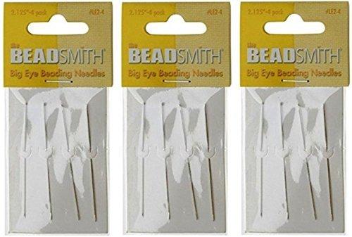 Beadsmith Big Eye Needles 2.125 - 3 Packs of 4 Large Eye Needles each - 12 Needles (in Rigid Pak TM mailer) LE-LE-3pck