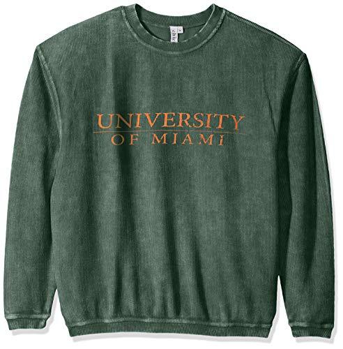 (chicka-d NCAA Officially Licensed University of Miami Ladies Corded Crew Sweatshirt/Oversized Sweater- Miami Hurricanes Women's)