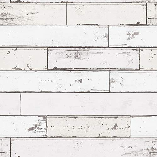 Grace & Gardenia G65011 White Shiplap Wallpaper