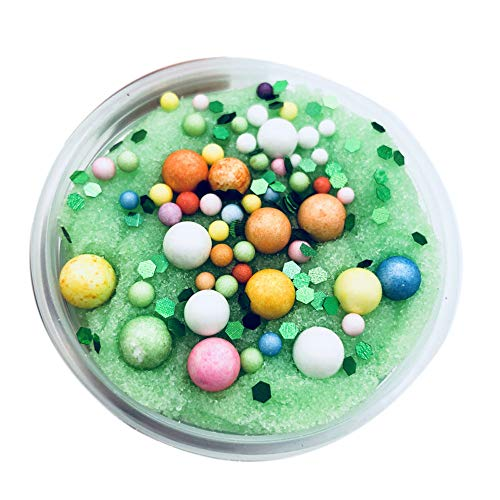 Livoty Beautiful Color Mixing Cloud Slime Christmas Snowflake Santa Claus Crystal Slime Putty Scented Kids Clay Toy (Green)